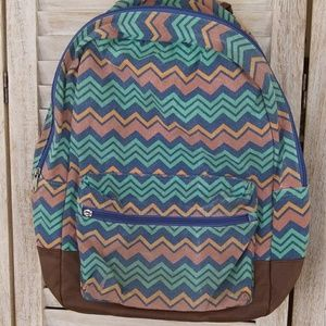 Handbags - Chevron design faux leather details backpack EUC
